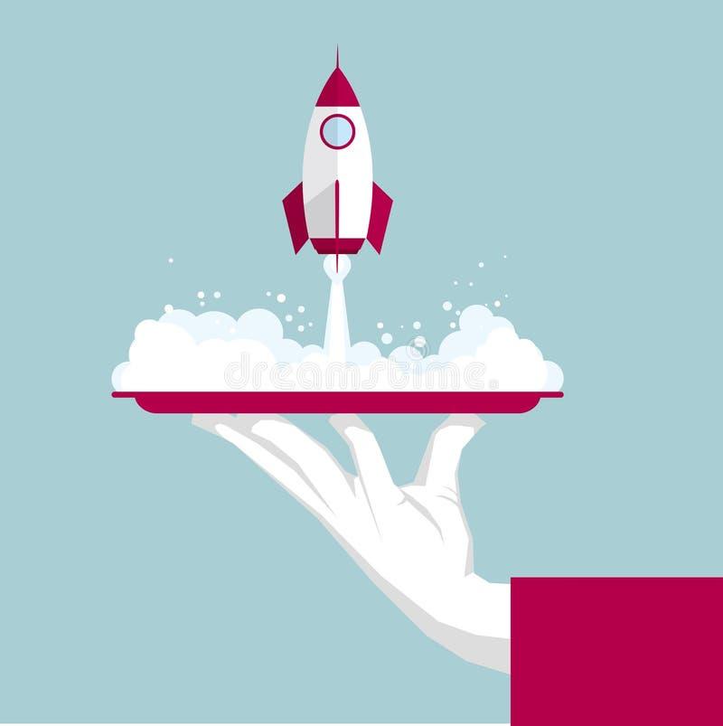 I lanci del razzo nel vassoio illustrazione di stock
