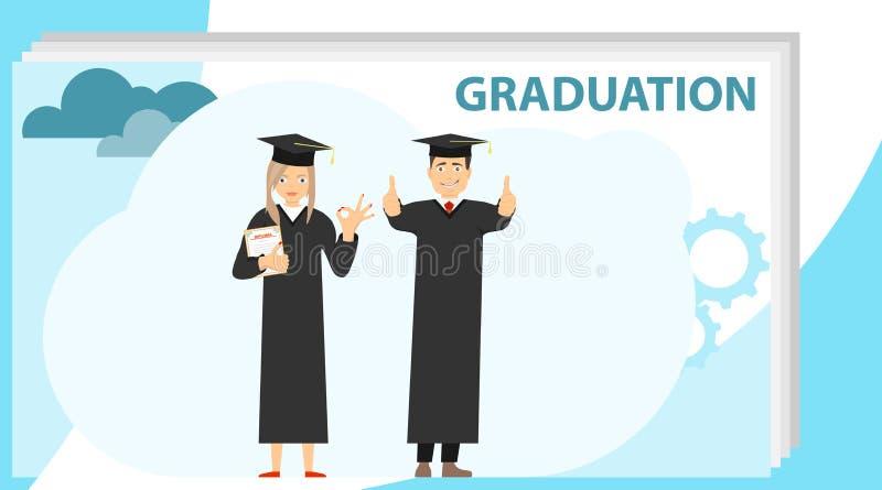 I laureati hanno ricevuto un diploma dalla graduazione Graduazioni della donna e dell'uomo in abiti e cappucci laureati Vettore royalty illustrazione gratis