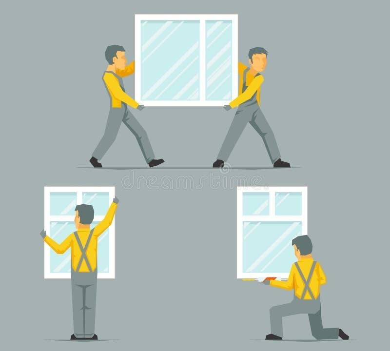 I lavoratori installano portano le finestre della casa che sviluppano l'illustrazione piana di vettore del modello di progettazio illustrazione di stock
