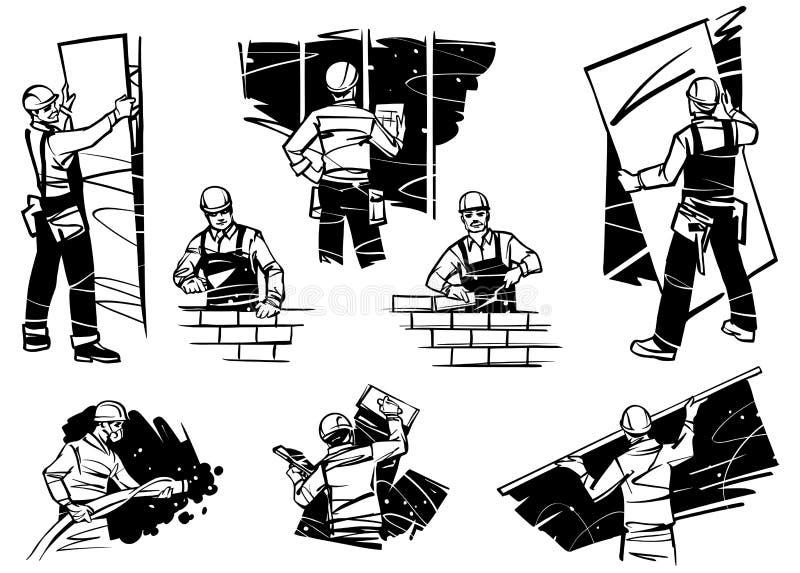 I lavoratori nella casa lavorano con le pareti Ponendo i mattoni, pareti del gesso ed installando muro a secco illustrazione vettoriale