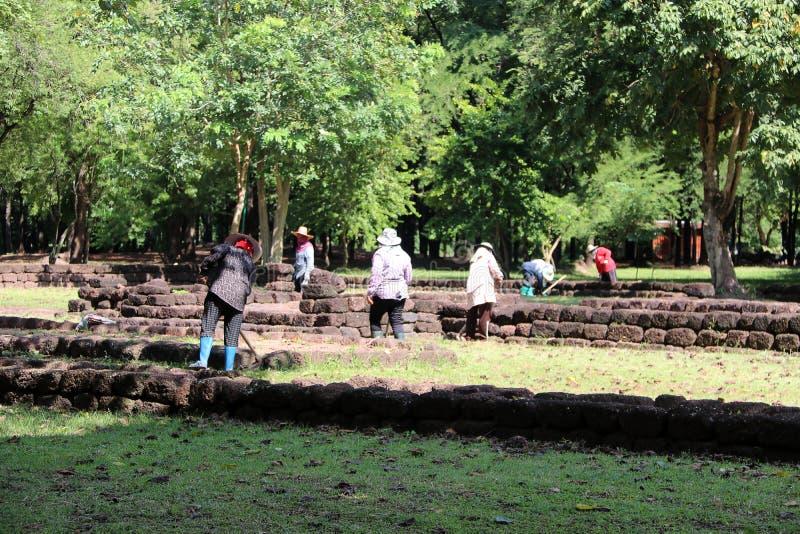 I lavoratori stanno rimuovendo le erbacce che l'erba per rinnova l'area del sito archeologico alla città antica di Sri Thep fotografie stock libere da diritti