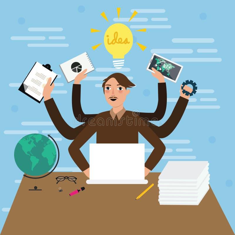 I lavori a funzioni multiple di lavoro di ufficio della tenuta della mano dell'uomo maschio dell'uomo d'affari vector occupato so illustrazione di stock