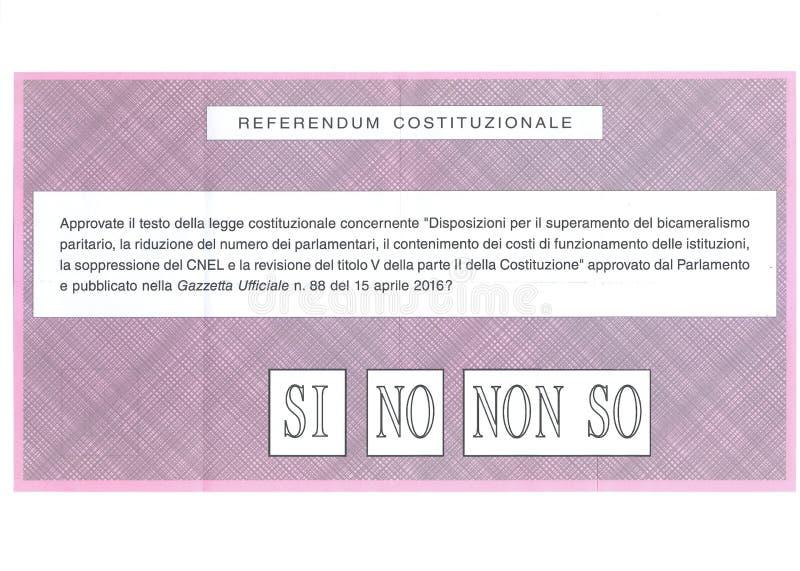 I le ` T de DON SAVENT sur le bulletin de vote italien photo libre de droits