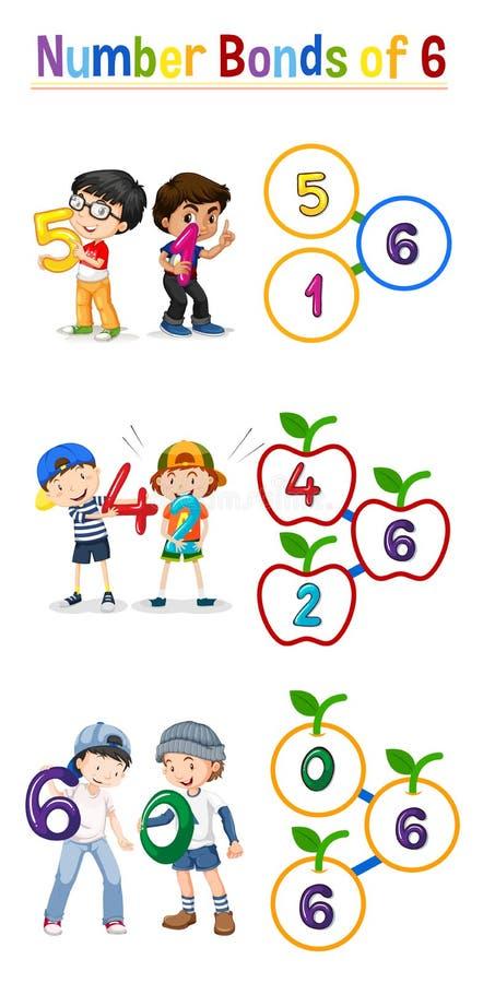 I legami di numero di sei illustrazione vettoriale