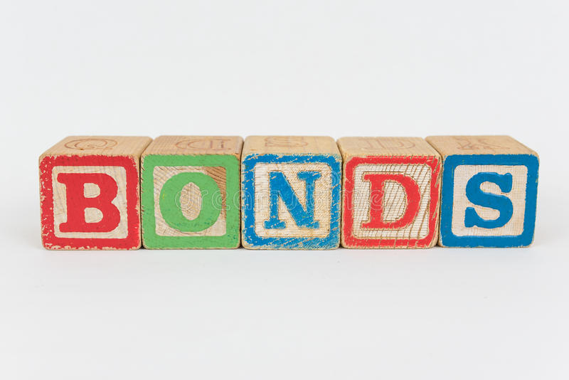 I legami di parola in blocchetti dei bambini di legno fotografie stock libere da diritti