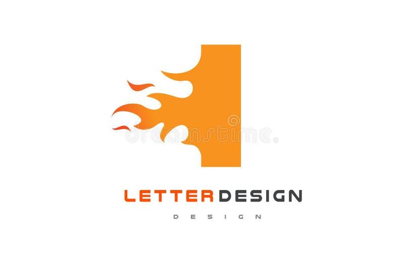 I Letter Flame Logo Design. Fire Logo Lettering Concept. vector illustration