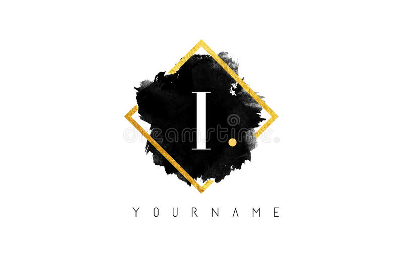 I Letter Logo Design with Black Stroke and Golden Frame. royalty free stock photography