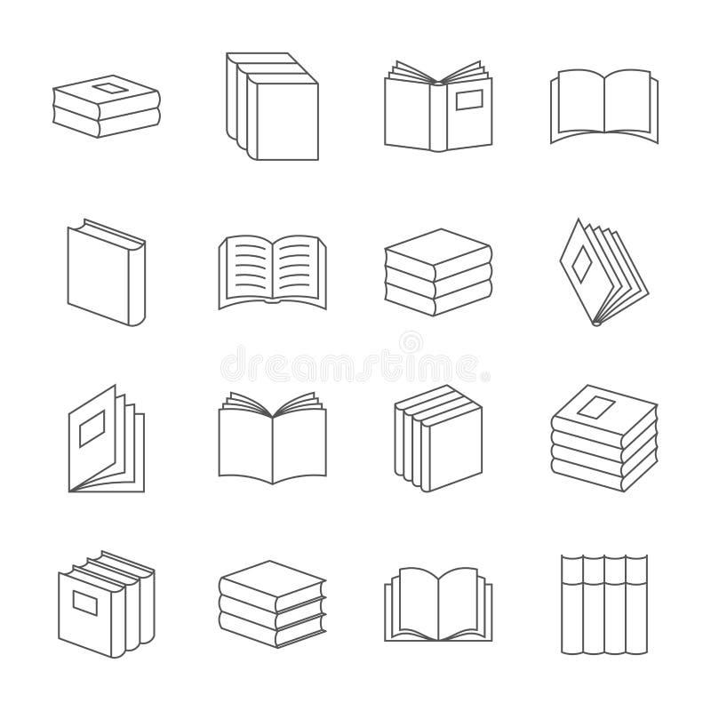 I libri assottigliano la linea vettore delle icone Segni di istruzione del libro, simboli lineari della letteratura del manuale illustrazione vettoriale