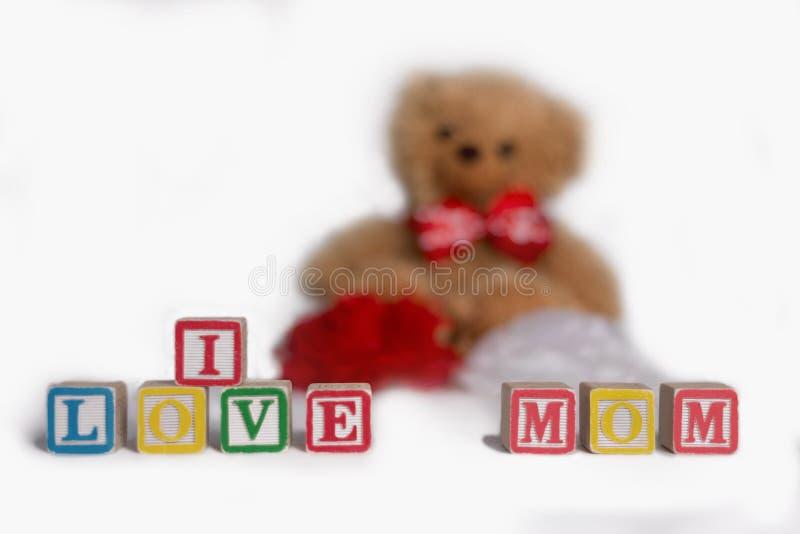 ` I liefdemamma `, met jonge geitjes tot houten blokken wordt gemaakt dat Gevuld draag met rode en witte bloemen zijn op de achte royalty-vrije stock afbeelding