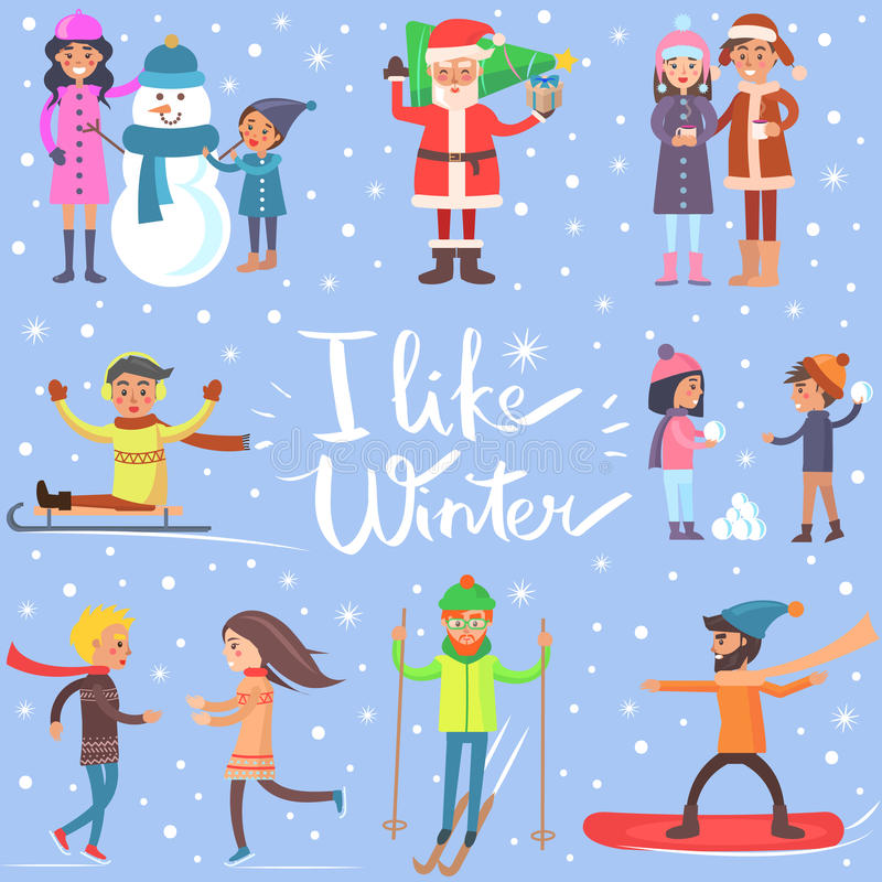 I Like Winter Poster with Sportive Happy People royalty free illustration