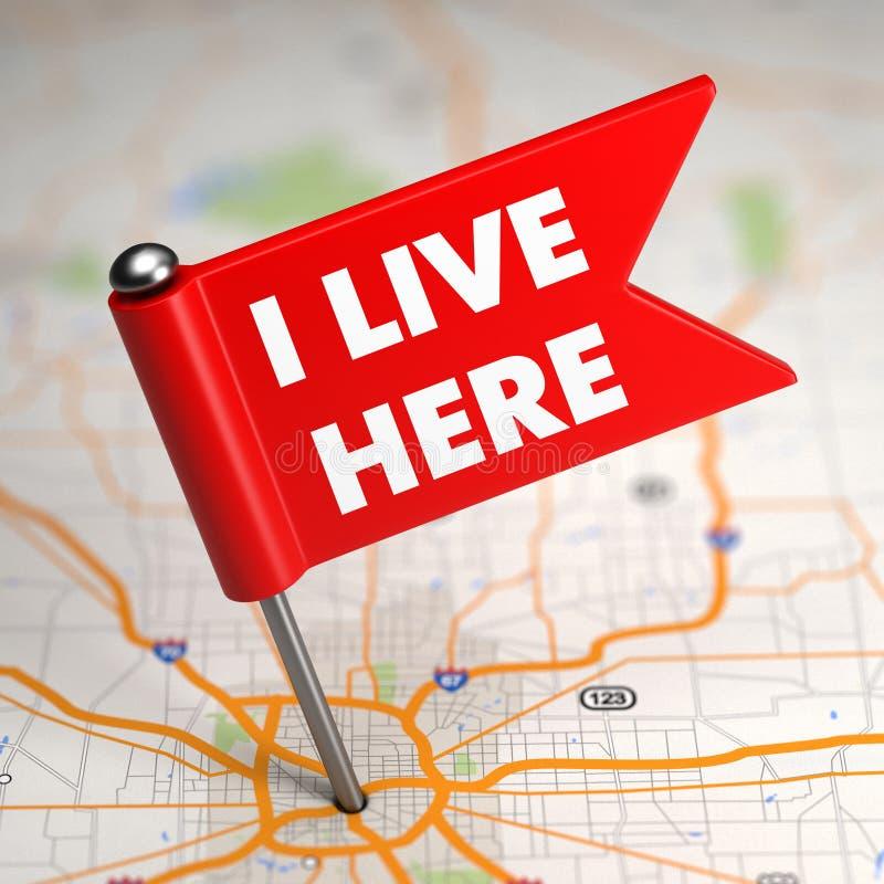 I Live Here - petit drapeau sur un fond de carte. image libre de droits