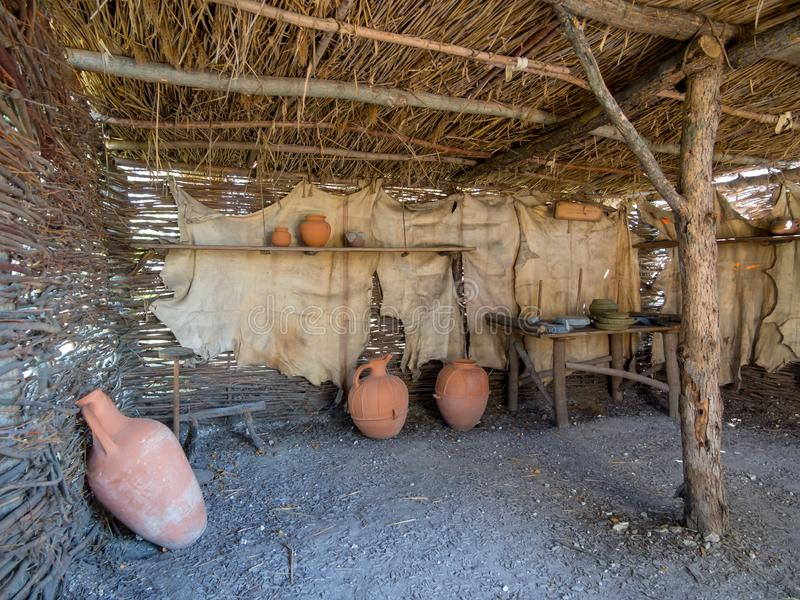 I locali dell'abitazione antica, interno di vista fotografia stock