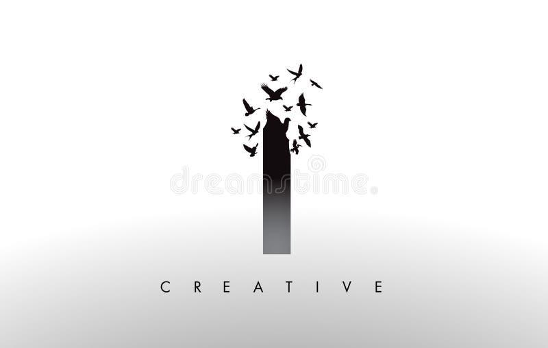 I Logo Letter con la multitud de los pájaros que vuelan y que se desintegran de stock de ilustración