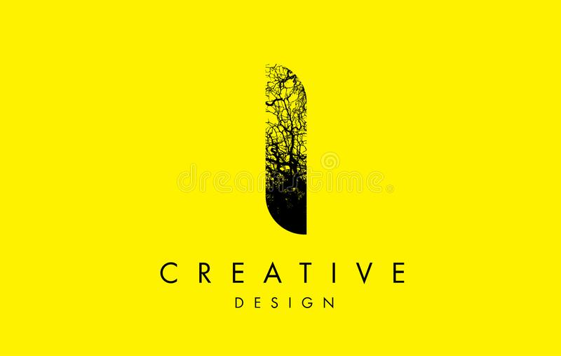 I Logo Letter Made From Black-Baumaste lizenzfreie abbildung