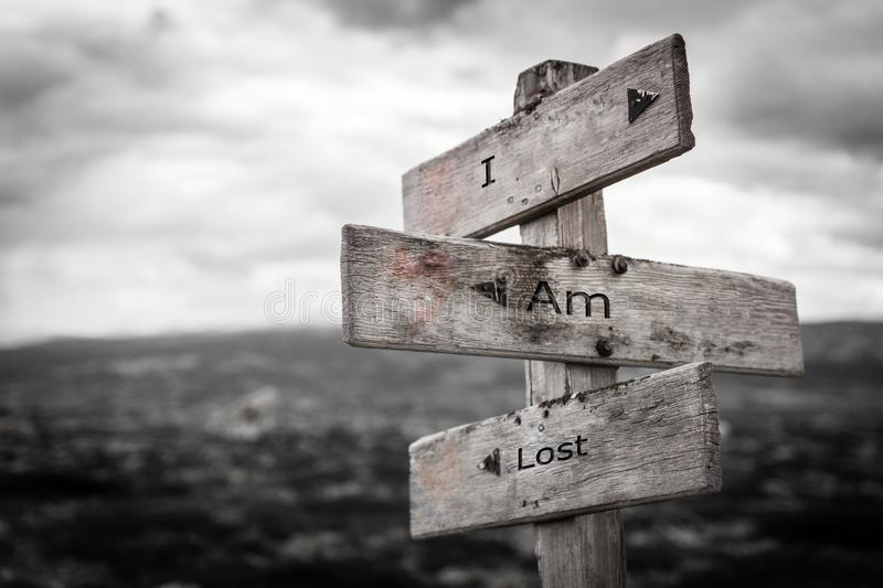 I am lost signpost. I am lost signpost in the norwegian mountains. Moody scenery. Old vintage wooden boards stock illustration