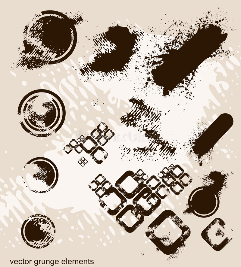 I lotti degli elementi del grunge, illustrazione vettoriale