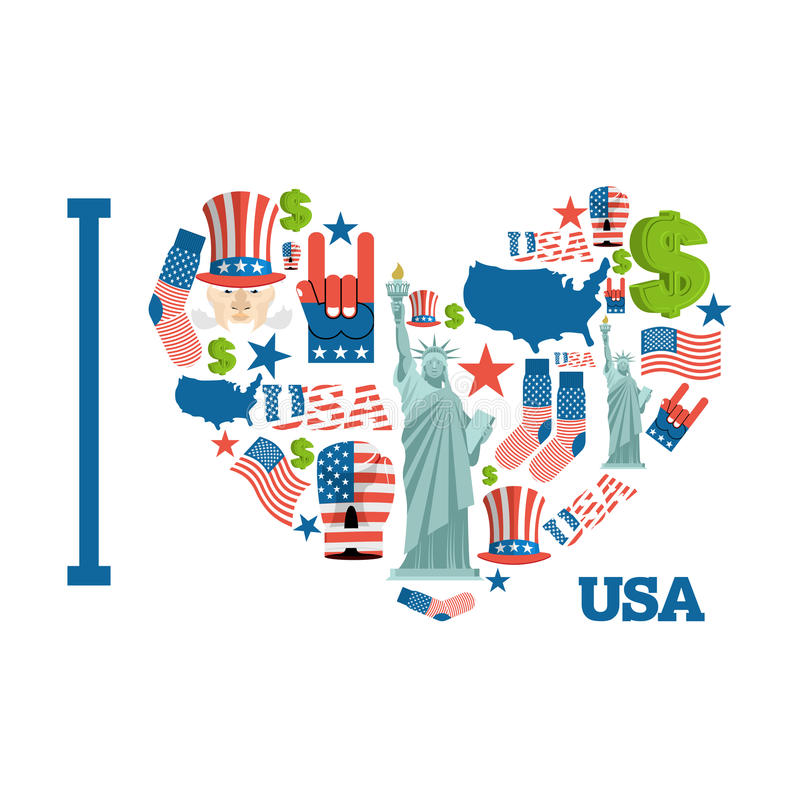 I love America. Sign heart of USA traditional folk characters. M stock illustration