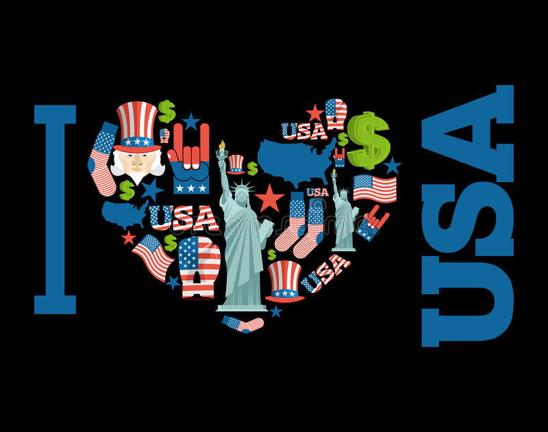 I love America. Sign heart of USA traditional folk characters. stock illustration