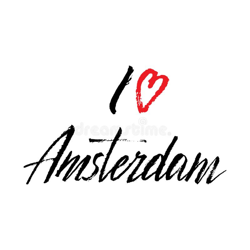 I love Amsterdam typography phrase. Trendy lettering font design, print for stickers, t-shirt, postcard. Vector stock illustration