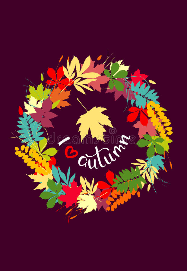 I love autumn background with multicolor leaves. Vector illustr. Ation. Layout for discount labels and shopping vector illustration