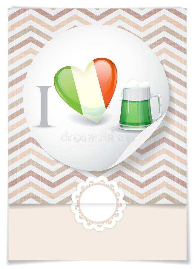 I Love Beer. Greeting Card Design, Template. St. Patrick's Day. I Love Beer. Vector Illustration. Eps 10 royalty free illustration