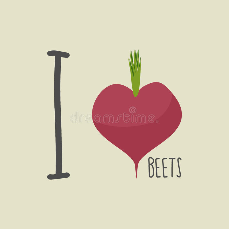 I love beets. Heart of the Burgundy red beets. Vector illustration stock illustration