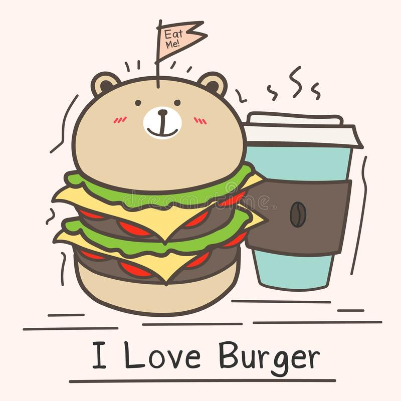 I Love Burger Concept With Cute Bear Burger And Coffee Cup. stock illustration