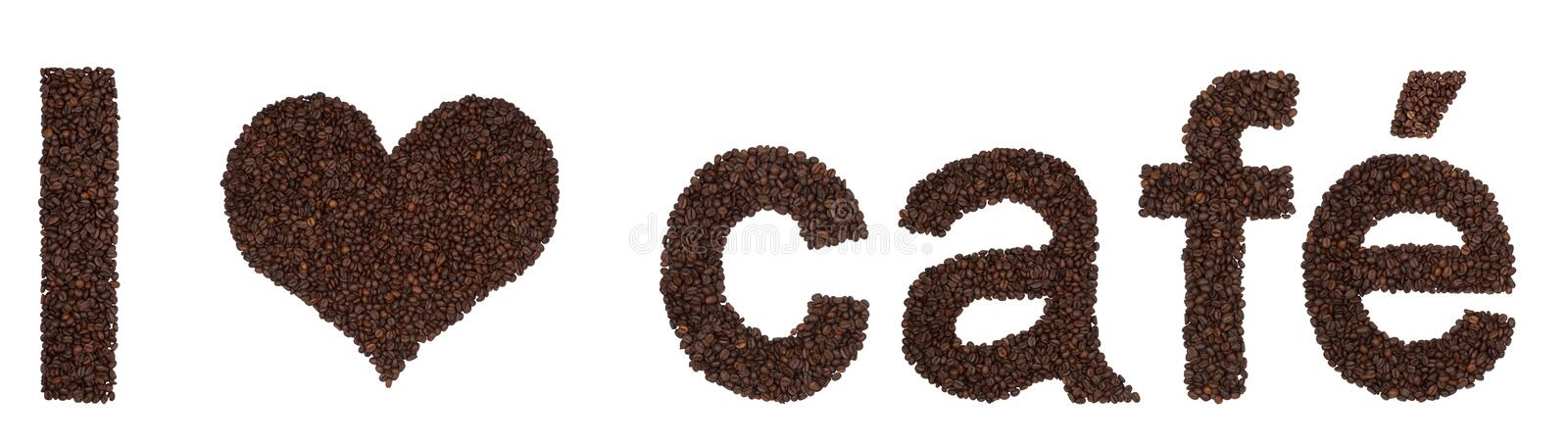 Download I Love Cafe From Coffee Beans Stock Photo - Image: 15990814