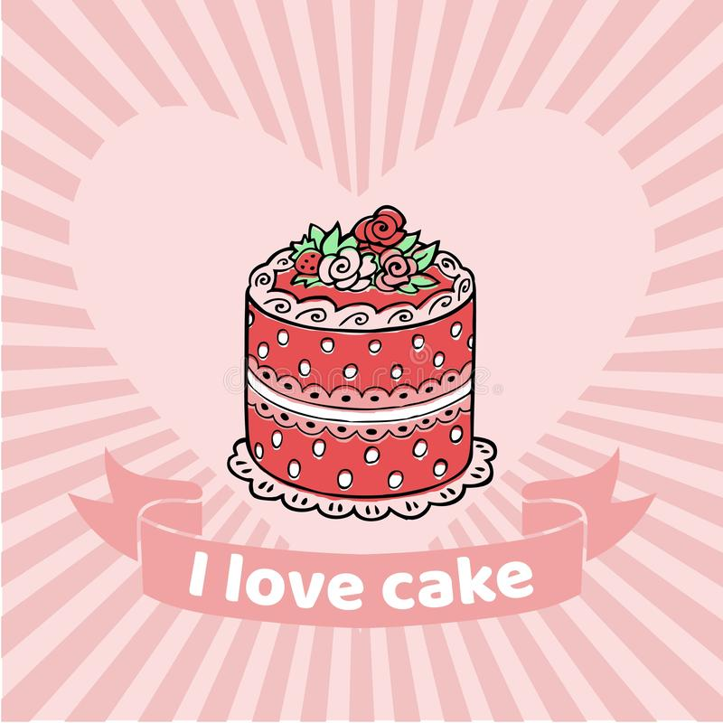 I Love cake vector illustration. Pink poundcake on retro background with heart. Lovely sweet cake. Vintage drawn vector illustration