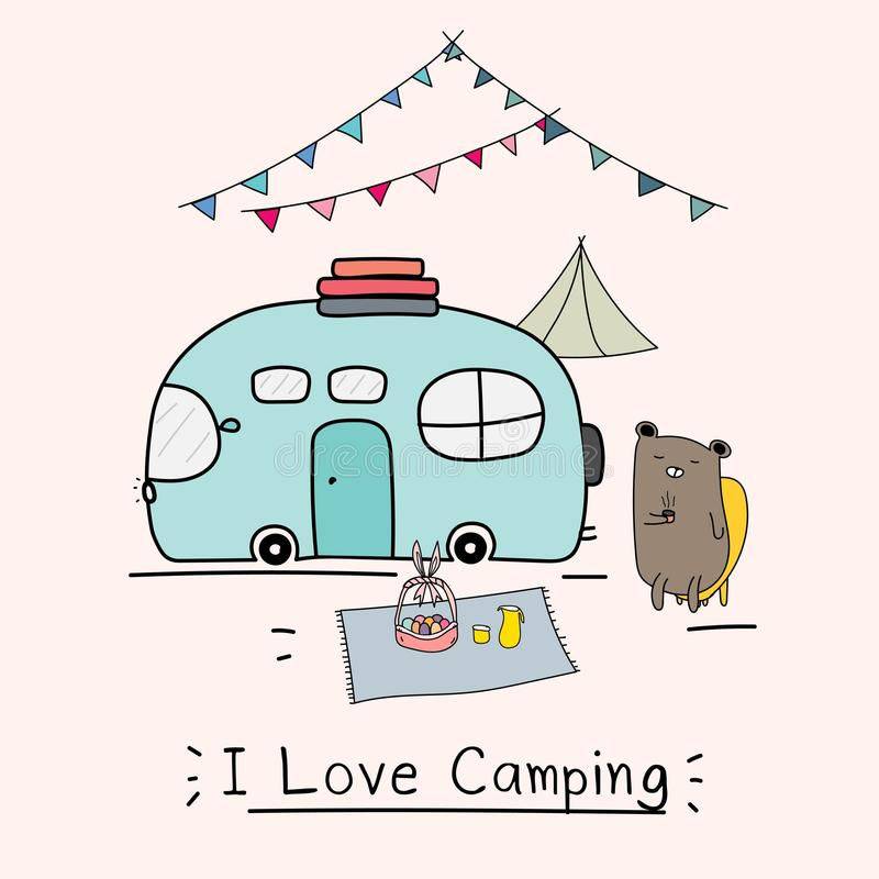 I Love Camping Concept With Cute Bear And Camping Car. royalty free illustration