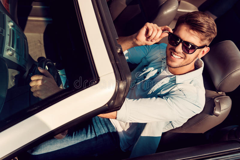 Download I Love This Car! Stock Image. Image Of Adjusting, Rental   56645423
