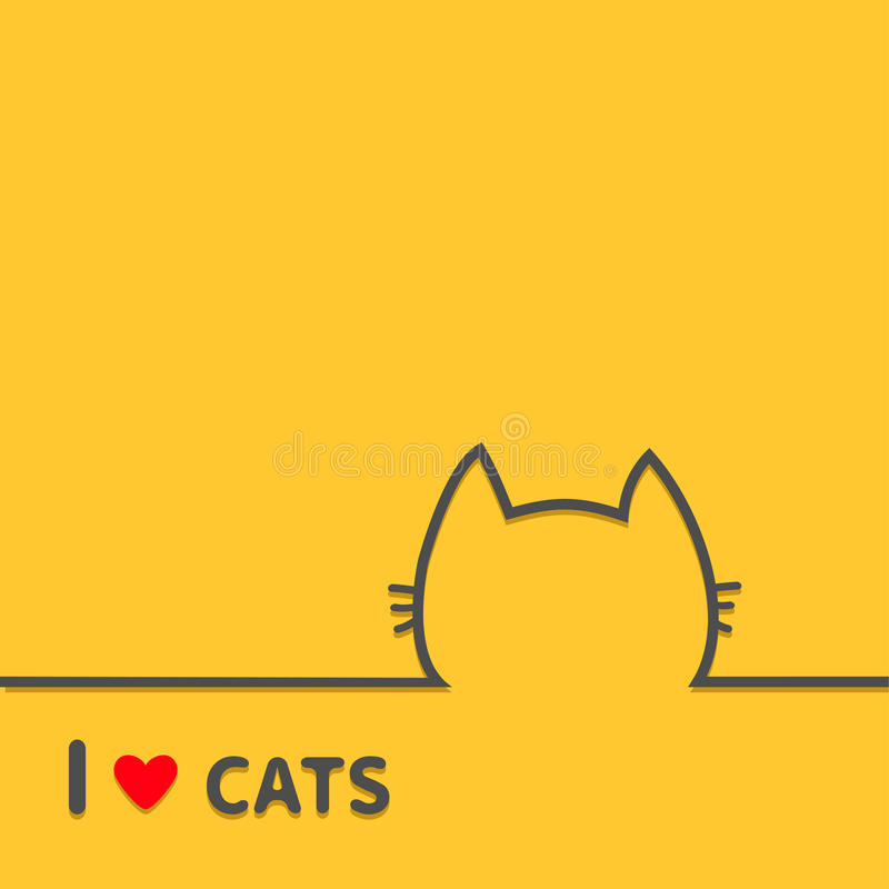 I love cats heart. Black cat head face contour silhouette line icon. Cute cartoon character. Text lettering. Kitten whisker Baby p. Et Yellow background. Flat stock illustration