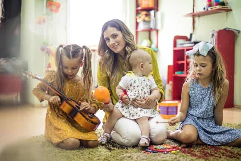 I love  children. Children in music school royalty free stock images