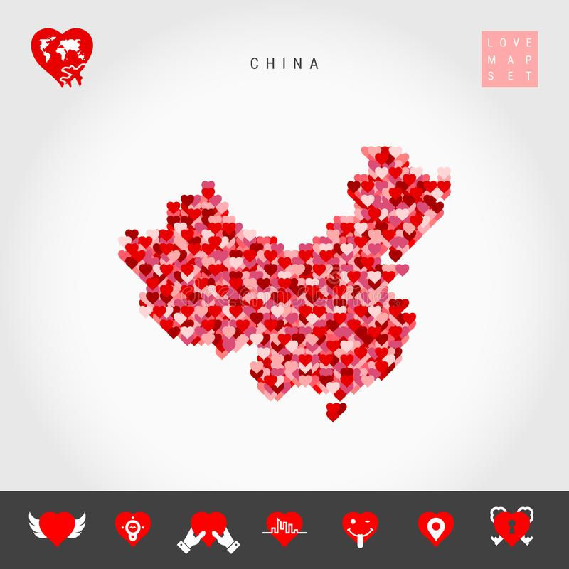 I Love China. Red Hearts Pattern Vector Map of China. Love Icon Set royalty free illustration