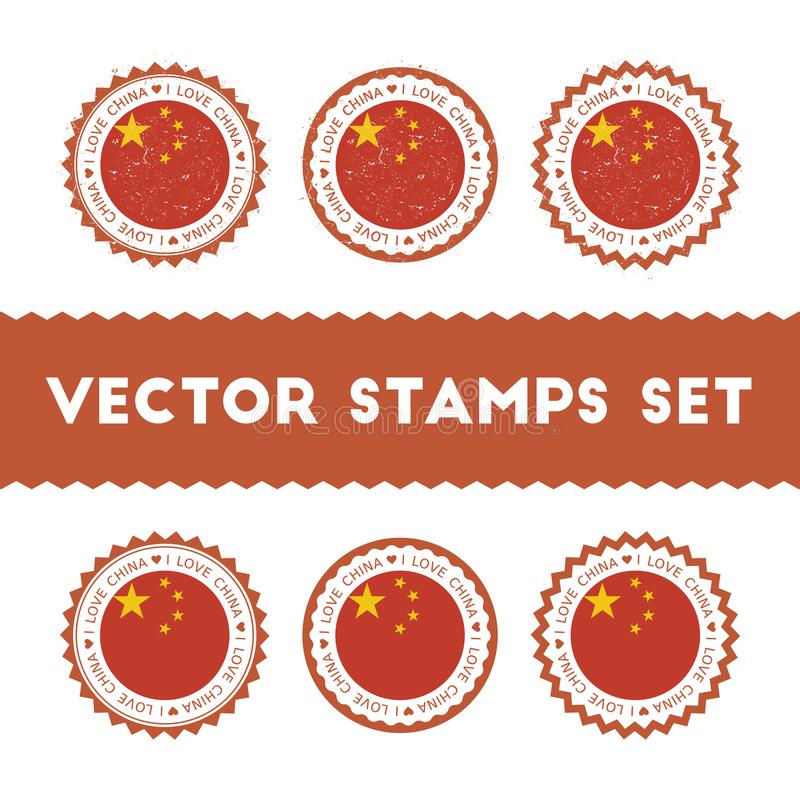 I Love China vector stamps set. Retro patriotic country flag badges. National flags vintage round signs royalty free illustration