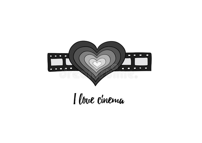 I love cinema - black and white heart on filmstrip. Heart on the filmstrip as a symbol of love to films and series. Film industry, entertainment, video, movie vector illustration