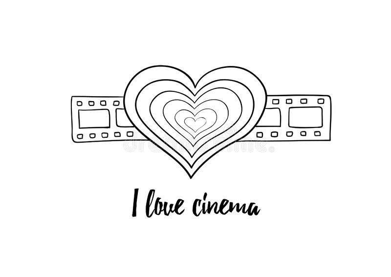 I love cinema - black and white vintage heart on filmstrip. Lined. Contoured. Heart on the filmstrip as a symbol of love to films and series. Film industry stock illustration