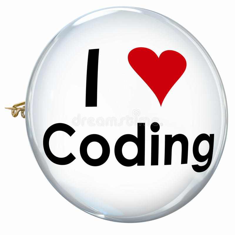 I Love Coding Words Button Pin Developer Programmer royalty free illustration