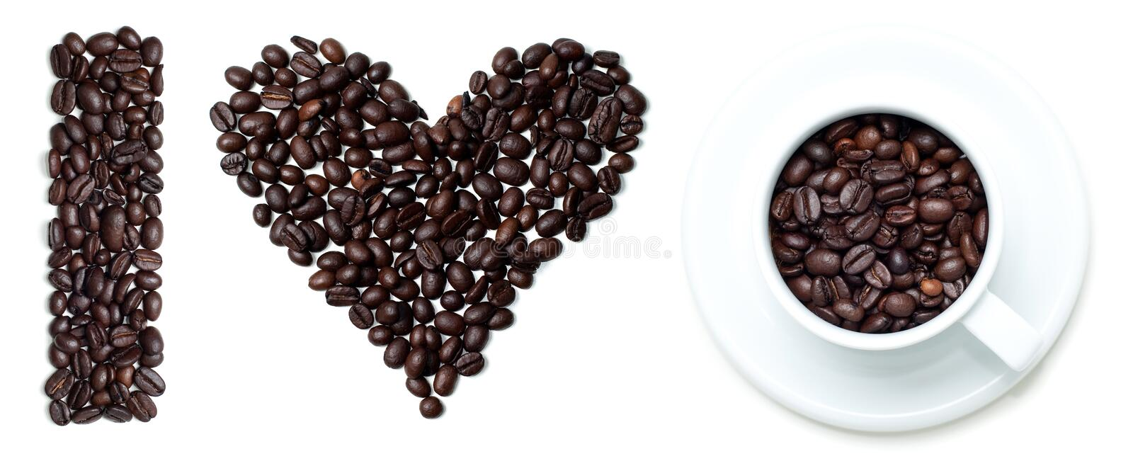 I love coffee. Sign made of beans and cup stock photography
