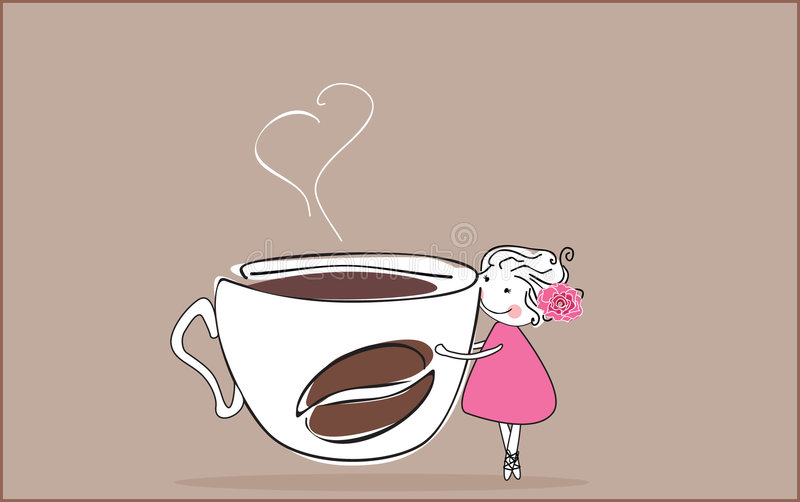 I love coffee. Vector illustration of girl with giant cup of coffee royalty free illustration