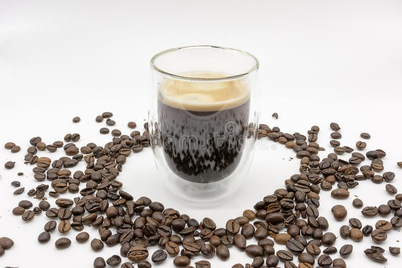 A heart of roasted coffee beans royalty free stock photos