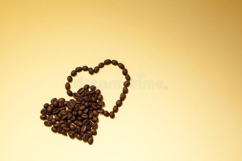 I Love Coffee. Hearts shape made from coffee beans royalty free stock photos