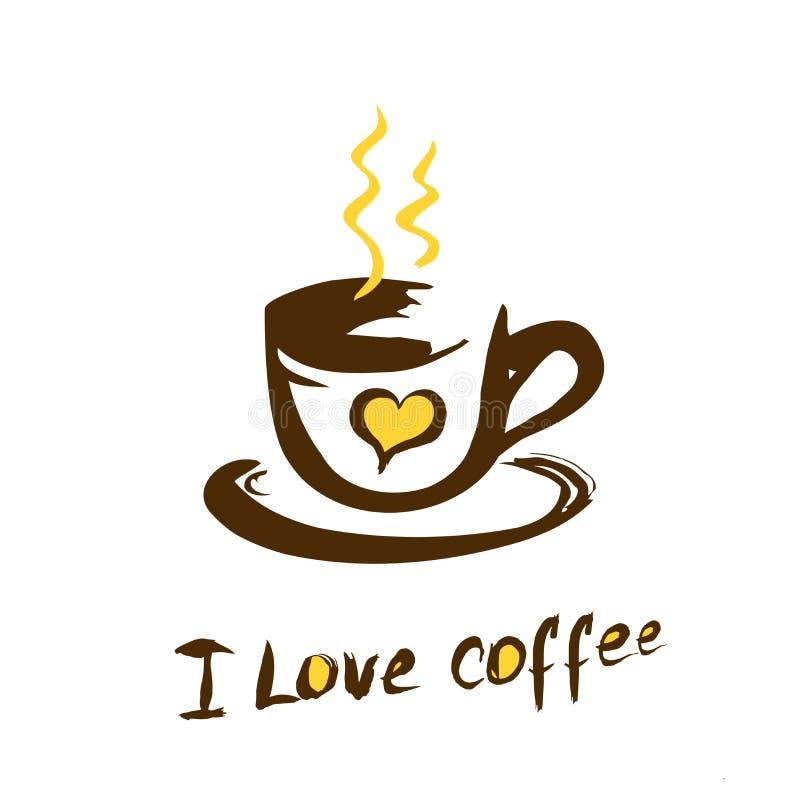 I love coffee poster illustration. Hand drawn I love coffee illustration, logo or poster - vector vector illustration