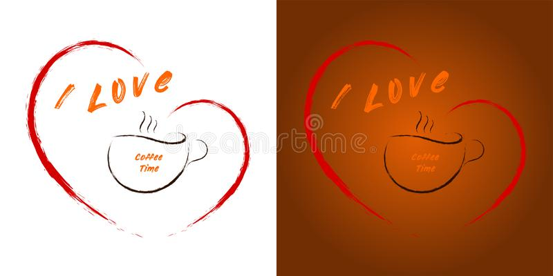 I love coffee time - a cup of coffee in the heart royalty free illustration