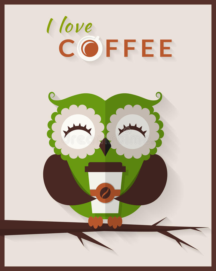 I love coffee. Vector card with owl. royalty free illustration