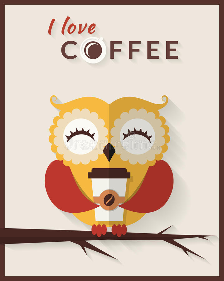 I love coffee. Vector card with owl. stock illustration