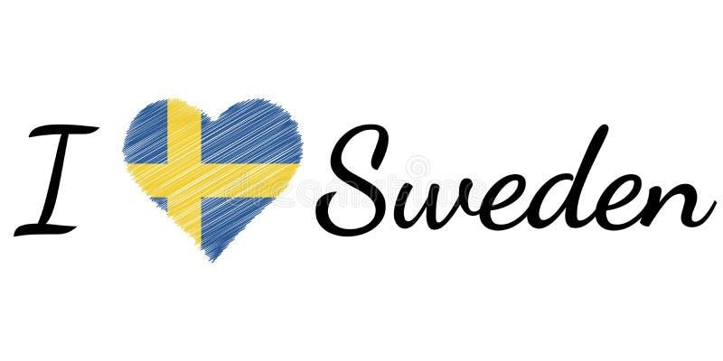 I love country Sweden, heart Doodle, vector calligraphic text, I love Sweden flag heart patriot se swe vector illustration