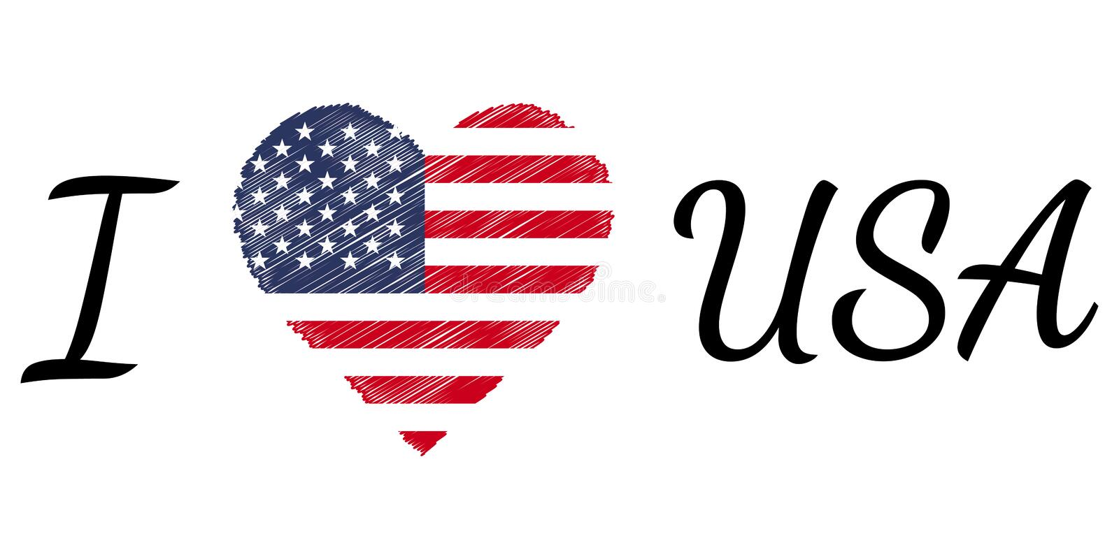 I love country usa america, text heart Doodle, vector calligraphic text, I love usa america flag heart patriot stock illustration