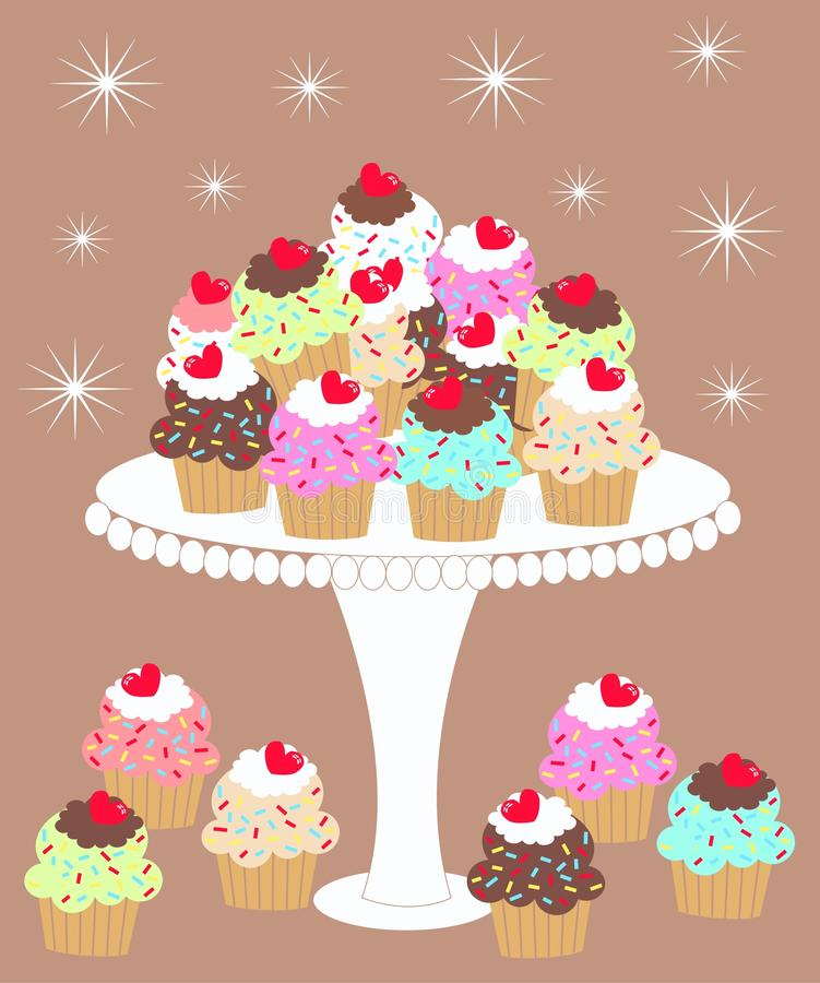 I love cupcakes. Lot of delicious cupcakes on a plate royalty free illustration
