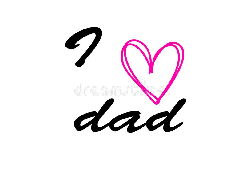 I love Dad lettering with red heart, design for greeting card, poster, banner, printing, mailing, illustration. / stock illustration